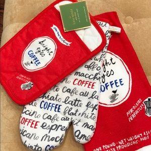 """Kate Spade 3pc """"coffee theme"""" kitchen set NWT"""